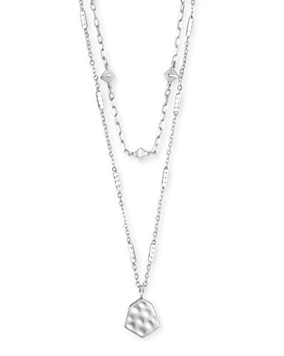 Kendra Scott Clove Multi Strand Adjustable Length Necklace for Women, Fashion Jewelry, Bright Silver