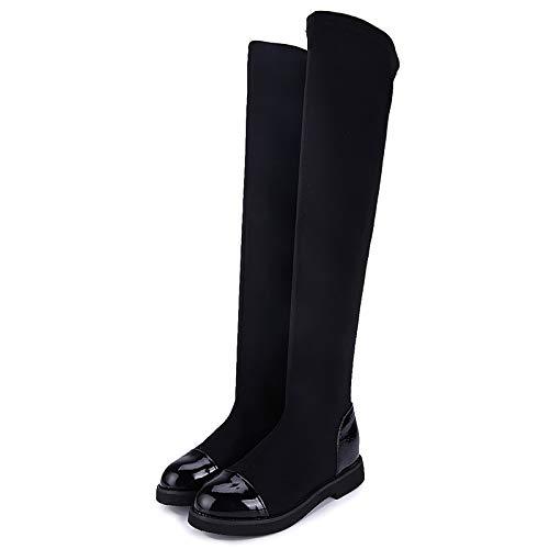 HKIASQ Botas Altas De Mujer Otoño Invierno Vadeadores De Tela Estirada Mujer sobre La Rodilla Botas Negras De Invierno Zapatos De Mujer De Tacón Largo,39EU