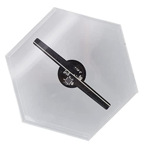 Sorandy Proiettore Olografico 3D con Ventola, Videoproiettore Olografico Wi-Fi HD 512x512P, Proiettore Pubblicitario LED 3D Naked Eye con Copertura Protettiva Esagonale(Nero)