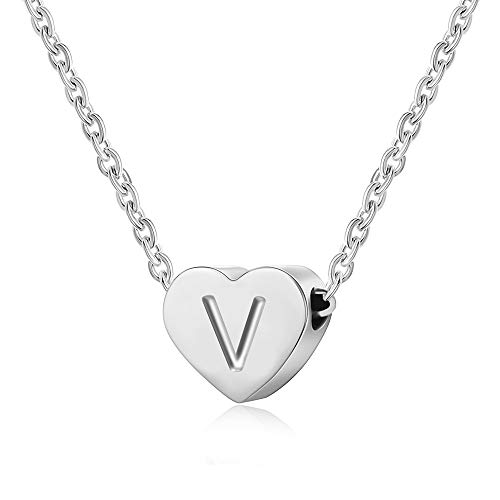 AFSTALR Heart Letter Initial Necklace for Women - Silver Girls Charm Pendant Personalized Kids Child Jewellry Gifts, Silver Letter V Necklace