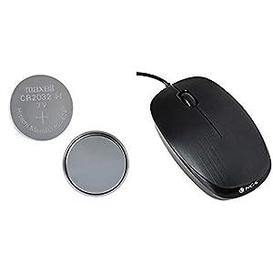 Maxell CR2032-B5MXL - Blister de pillas tipo botón de litio CR2032 3V (5 unidades) + Ngs PCS71601FLAME - Ratón óptico, color negro