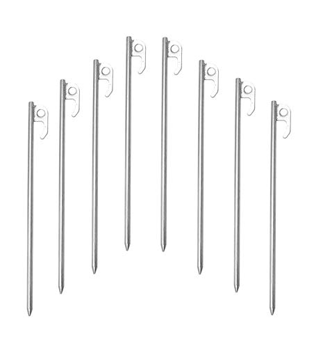 Synoratory Family Camping Stakes,Tent Stakes Heavy Duty Tent Pegs Galvanized Steel Non-Rust Ground Anchors Unbreakable and Inflexible 11.8inches Safety Stakes(8pack-2)