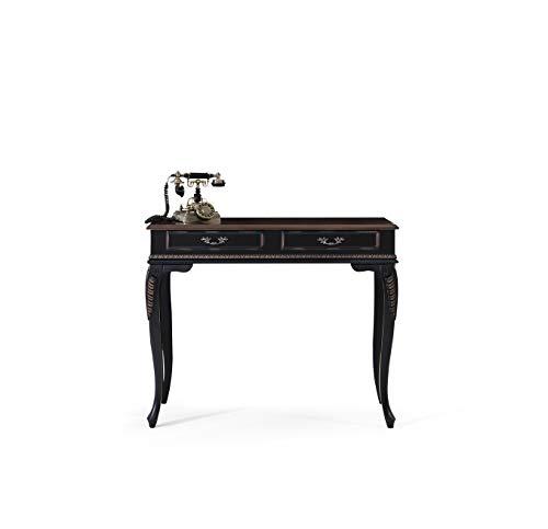 roombird Telefontisch Konsolentisch Perla schwarz mit 2 Schubladen
