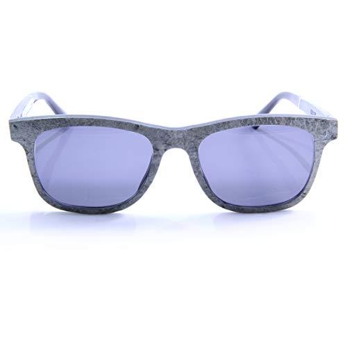 iSTONE Sonnenbrille aus Holz/Echtholzbrille/Holzbrille mit Steinauflage - Modell 01 grauer Granit in Indigo Blau - für Damen und Herren - UV400 = 100% UV-Schutz - Brillenmanufaktur aus Deutschland