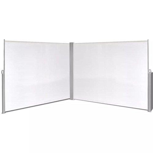 vidaXL Tenda da Sole Laterale Retrattile 180x600cm Crema Paravento Frangivento