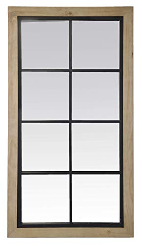EMDE - Espejo taller, cuadriculado, madera clara y metal negro, 65 x 123 cm