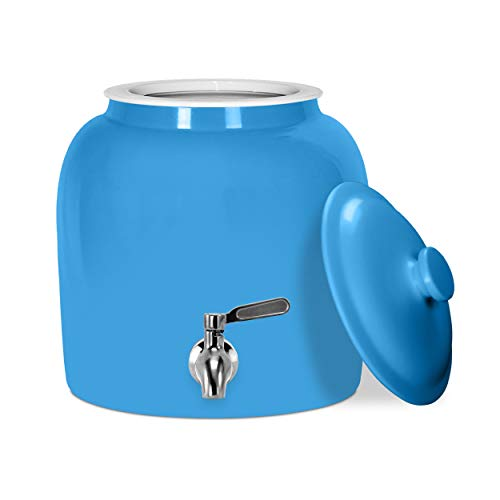 Geo Sports Porcelain Ceramic Crock Water Dispenser, Stainless Steel Faucet, Valve and Lid Included. Fits 3 to 5 Gallon Jugs. BPA & Lead Free (Solid Baby Blue)
