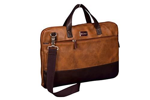U.S CRAFT Premium 14 Inch Vegan Leather Unisex Messenger Laptop File Bag (Tan)