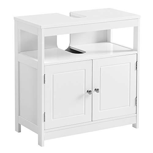 VASAGLE Waschbeckenunterschrank, Badezimmerschrank, Aufbewahrungsschrank mit 2 Türen, offenes Fach, 60 x 30 x 60 cm, skandinavischer Stil, mattweiß BBC301W01