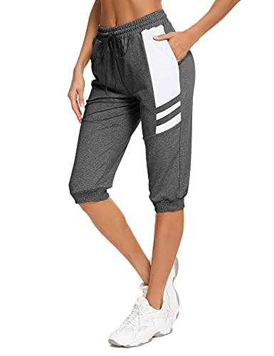 Sykooria Damskie spodnie do biegania Side Stripe spodnie sportowe, lekkie, przewiewne, z kieszeniami i sznurkiem