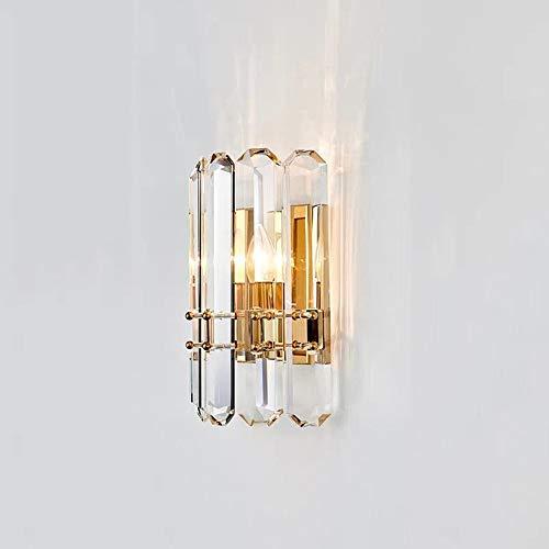 Lámpara de cristal moderna Luz de pared de cobre, lámpara de noche del dormitorio Lámpara de sala de estar de la sala de estar, E14 Latón de latón Iluminación de pared Ajuste Fácil de ajuste Montaje d