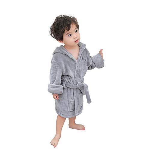 Toddler Boys Girls Bathrobes Gray - Unisex Hooded Fleece Sleep Robe and Towel Cotton Pajamas for Kids 2 3 4 5 6 Years (Gray, 5T-6T/XXL)