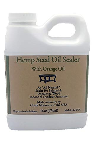 Chalk Mountain Brushes 16oz Hemp Seed Oil Citrus Scented Furniture Sealer. Beautifys and Protects Painted and Unfinished Wood. Safe to use Indoor and Outdoors