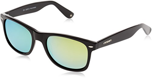 Ocean Sunglasses Beach Wayfarer - Gafas de Sol polarizadas - Montura : Negro Brillante - Lentes : Amarillo Espejo (18202.2)