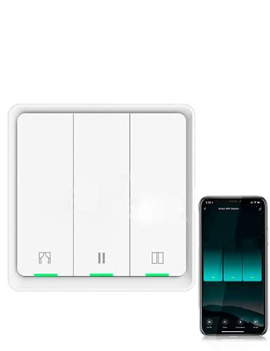 Interruptor Persianas 3 Gang Zigbee enrollable, Requiere Hub Zigbee, Compatible con Smart Life, Interruptor persianas Alexa y Google Home