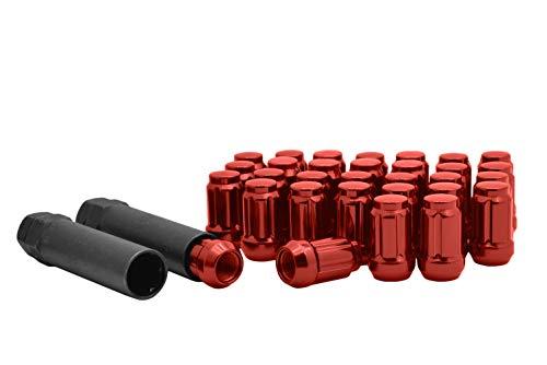 Full Set of 20 M12x1.5 Thread Red Spline Tuner Style Lug Nuts + Two Keys   Mazda Miata CX-3 CX-5 Protege MPV