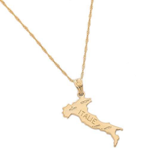 Collares de acero inoxidable Mapa de Italia, collar con colgante, mujer, niña, joyería de Color dorado, mapa de Italia, joyería con encanto, collar con colgante de mapa, regalo para hombres y mujeres