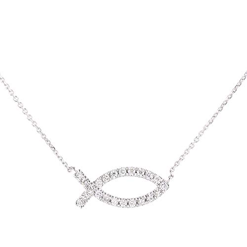 Naava Women 9ct (375) White Diamond Pendant Necklace of Length 46cm PNE20031W
