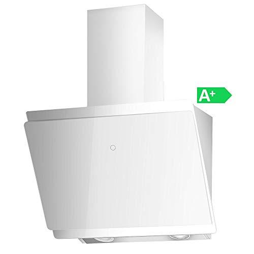 VLANO MIRA und MELIA Plus EEK A+ Kopf-freie Dunstabzugshaube Glas Design/Touch Control/ECO LED/Extra leiser Brushless Motor/Abluft/Umluft (MIRA 60 cm, weiß)