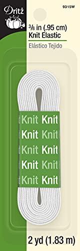 Dritz 9315W Knit Elastic, White, 3/8-Inch by 2-Yard