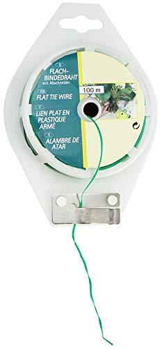 com-four® Alambre Plano de 100 Metros con Alambre Recubierto de plástico en Carrete con Cortador en Verde, con Dispositivo de Corte, Ideal para jardinería y tareas domésticas (01x 100m Verde V1)