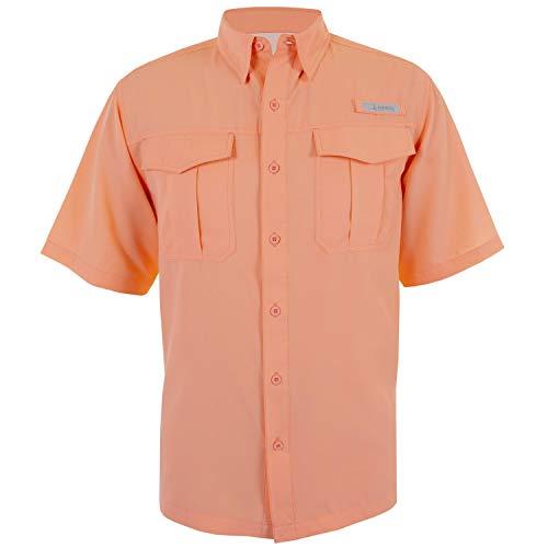 HABIT Men's Belcoast Short Sleeve River Guide Fishing Shirt, Spiked Peach, Large