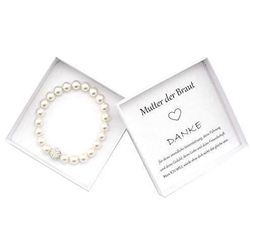 Brautmutter Geschenk Armband Perlen, Geschenkbox Mutter der Braut