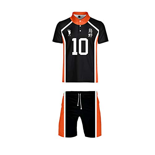 Mooz-seven Haikyuu Cosplay Sportkleidung Jungen Mädchen Volleyball Club Sportswear T-Shirt Shorts Set (Schwarz-10, S)