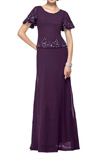 Topkleider - Vestido elegante de mujer, largo, de gasa azul oscuro, cuello...