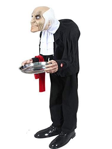 RHSML DecoracióN de Halloween Mayordomo Mujer Ama de Casa Accesorios EléCtricos de Terror Adecuado para El DiseñO de La Casa Embrujada del Bar del Centro Comercial,Butler