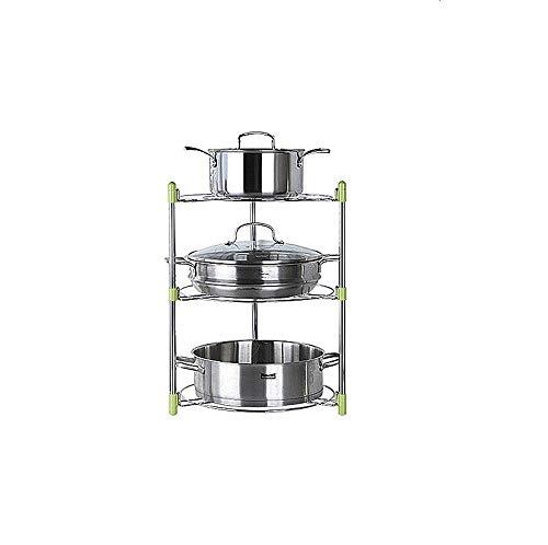 Conveniente ordenar suministros de cocina organizando sartenes, estantes de cocina, estantes de almacenamiento para sartenes