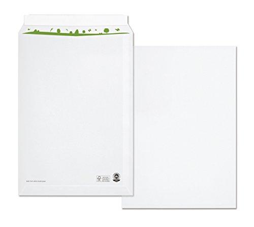 beeco 04470161Bolsa de envío C4(Papel Reciclado con interior verde impresión, autoadhesivo, 250unidades, 229x 324mm, 100g, color blanco
