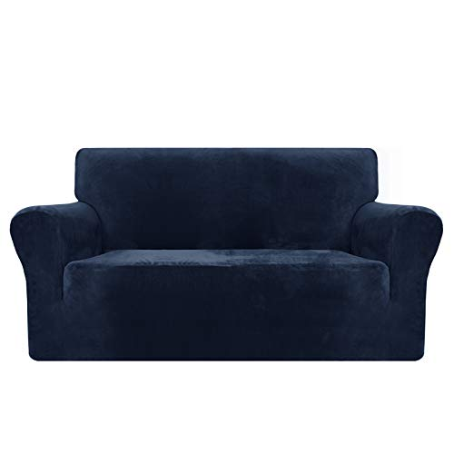MAXIJIN Thick Velvet Sofa Covers 2 Seater Super Stretch Non Slip Loveseat Covers for Living Room Dogs Cat Pet Plush Love Seat Couch Slipcovers Elastic Furniture Protector (2 Seater, Navy Blue)