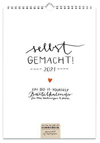 A4 Bastelkalender 2021, Recyclingpapier Fotokalender, Kreativkalender, Geburtstagskalender, selbstgemacht Design schlicht, Schwarz Weiß mit Herz, Kalender selbst gestalten, basteln und verschenken