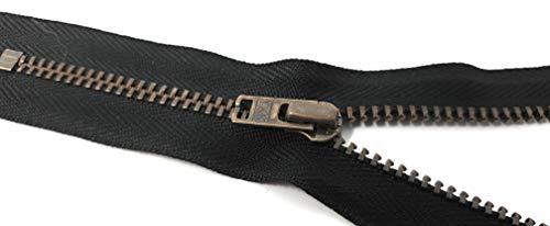 YKK nicht teilbarer Reißverschluss mit Zipper aus Metall in antik Gold 580 Schwarz 18 cm