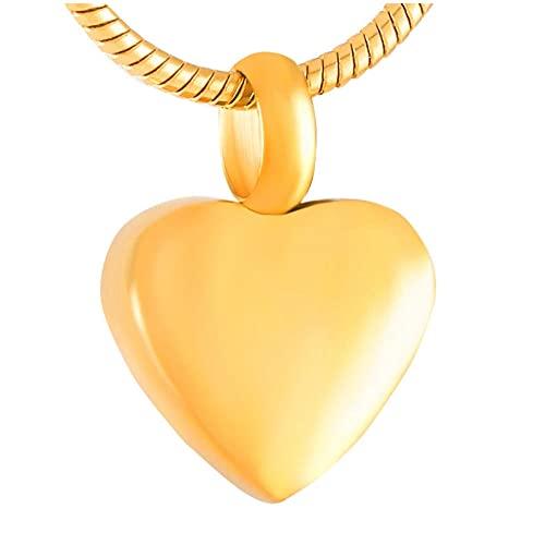 Wxcvz Collar para Cenizas 11 Mm Pequeño Corazón En Blanco Urna De Cremación De Acero Inoxidable Joyas Grabables Recuerdo Conmemorativo Collar Encantos Que Contienen Cenizas