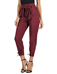 95%Polyester+5%Spandex Cropped length(9/10) pencil pants, Back waist is elastic With belt-fitted loops, matched belt is removable, With open side-entry pockets Leg opening with tie, make a bow-knot or tie the bottom freely. Every brand's size informa...