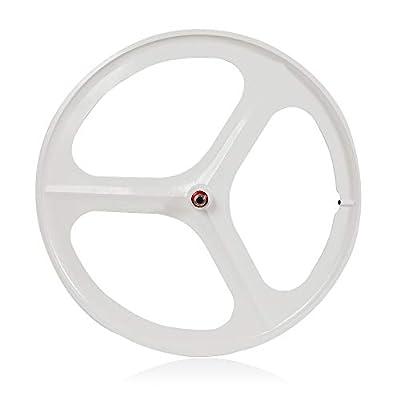 Gdrasuya 700C 3-Spoke Fixed Gear Rim Single Speed Fixie Bicycle Wheel Clincher Type Set US Stock (White, Rear)