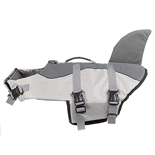 minifinker Ropa Chaleco Salvavidas para Perros Grandes, Chaleco de Seguridad para Nadar para Mascotas, para Perros Grandes(JSY03 Gray, L)
