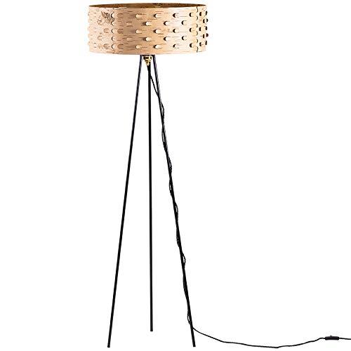 Lámpara de pie Moya redonda, con tres patas, material natural tradicional, corteza de abedul, patrón láser para ambientes cálidos/ambiente de abedul, atmósfera del bosque / Ø50 x 155 cm - cobertizo