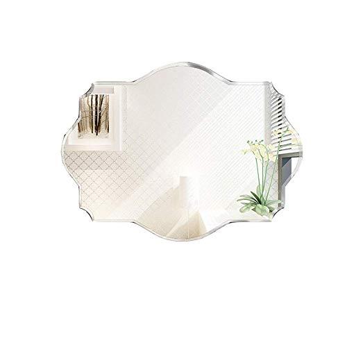 WLABCD Espejo de Maquillaje Polygon, Espejo de Baño de Maquillaje de Pared, Espejo Decorativo de Pared para Sala de Estar Y Dormitorio, Colocación Horizontal Y Vertical, Espejo Plateado de 5 Mm,500X7