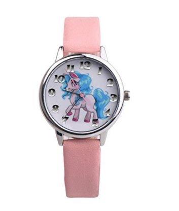 josep.h Reloj de dibujos animados para niños, bonito reloj de unicornio (rosa)