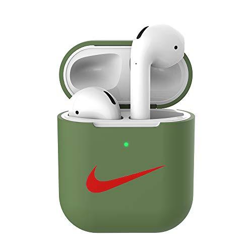 USSJ Compatibel voor AirPods Case Beschermende Siliconen Cover en Huid voor AirPods Opladen Case 1 & 2, Mosterd Groen