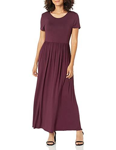 Amazon Essentials Women's Solid Short-Sleeve Waisted Maxi Dress, Burgundy, XL