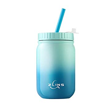 ZLINS Cup with Straw and Lid,Iced Coffee Travel Mug,Stainless Steel Drinking Tumbler,Insulated Reusable Metal Cup,Hot Cold Mason Jar,for Smoothie Milkshake,Cocktails,14OZ  Blue/Ocean Blue