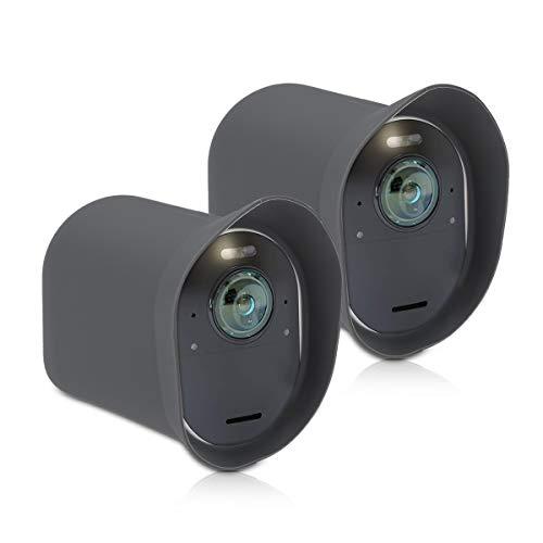 kwmobile 2X Hülle kompatibel mit Arlo Ultra/Arlo Pro 3 - Silikon Security Camera Cover Schutzhülle Kamera - Grau