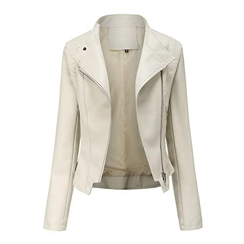 NHNKB Giacca invernale da donna, in pelle PU, giacca da ciclismo, giacca corta in ecopelle, giacca da moto, beige., L