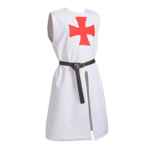 BLESSUME Medieval Templar Knight Tunic White Crusader Tunic with Belt