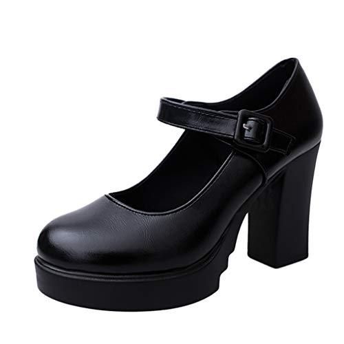 Zapatos Tacón Alto Ancho Plataforma Mujer Invierno