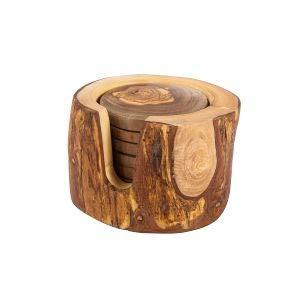 6 sottobicchieri in legno di ulivo tunisino in scatola rustica